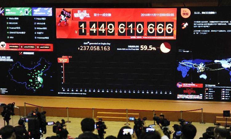 淘宝2014年双十一销售数据大屏,仅38分钟交易额即突破百亿元大关图片